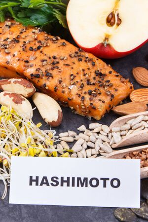 Inscription hashimoto with best nutritious food for healthy thyroid. Natural eating containing vitamins and minerals