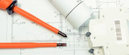 Electrical diagrams, electric fuse and work tools. Drawings for projects engineer jobs. Building home concept Archivio Fotografico