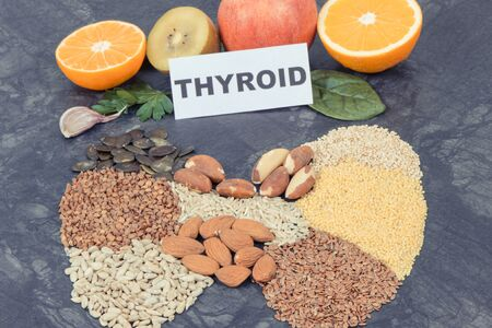Thyroid shape made of healthy ingredients. Source natural vitamins and minerals