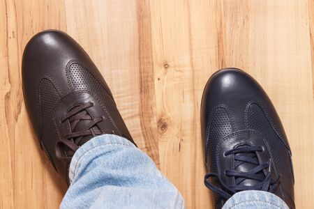 Elegant stylish comfortable navy blue and brown shoes for men on board