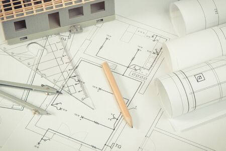 Electrical diagrams, accessories for use in engineer jobs and house under construction, concept of building home