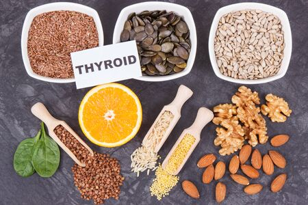 Nutritious products and ingredients containing vitamins and minerals for healthy thyroid