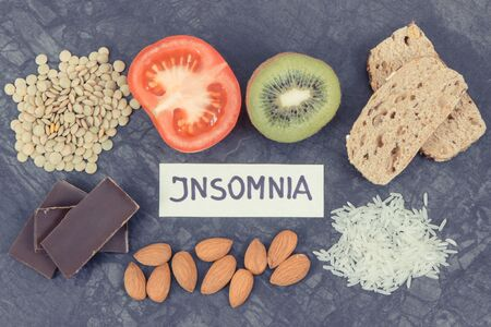 Best nutritious food as source melatonin and tryptophan. Concept of healthy sleep Stock Photo