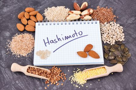 Notepad with inscription hashimoto and best nutritious ingredients for healthy thyroid
