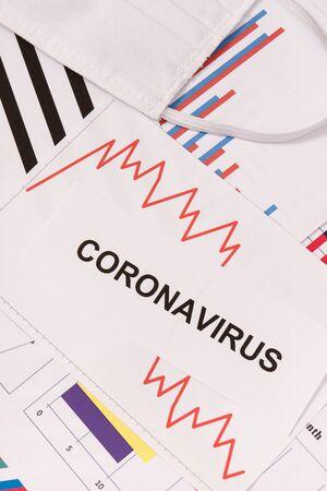 Downward graphs representing financial crisis caused by coronavirus. Covid-19. Sars-CoV-2. 2019-nCoV Banque d'images