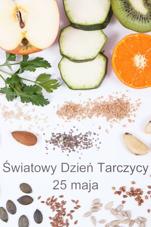 Polish inscription World Thyroid Day 25 May and best nutritious ingredients for healthy thyroid. White background Stock Photo