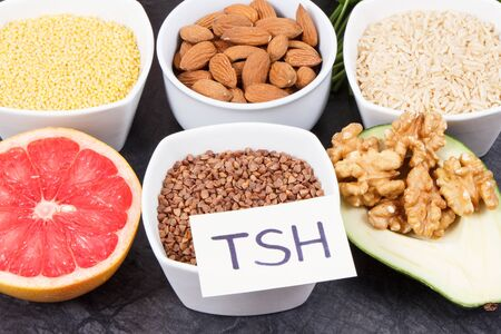 Dietary and beneficial eating for thyroid gland. Food containing natural healthy vitamins and minerals Stock Photo