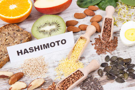Inscription hashimoto and best ingredients or products for healthy thyroid. Food containing natural minerals and vitamins