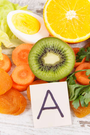 Ingredients and eating containing vitamin A and dietary fiber, healthy nutrition as source natural minerals Reklamní fotografie