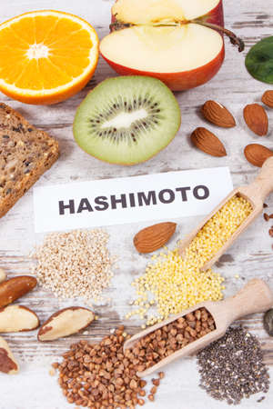 Nutritious healthy ingredients or products with inscription hashimoto. Problems with thyroid concept Reklamní fotografie