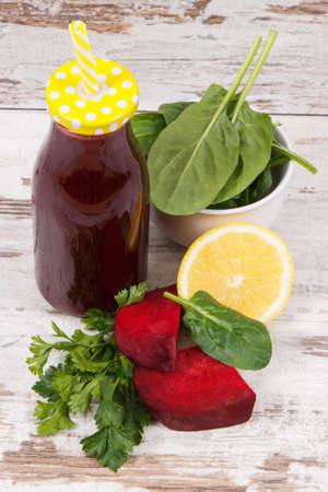Fresh prepared beetroot juice with lemon and other vegetables. Healthy lifestyles and nutrition concept