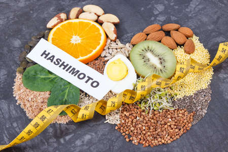 Inscription hashimoto with ingredients as best food for healthy thyroid. Natural eating containing vitamins and minerals
