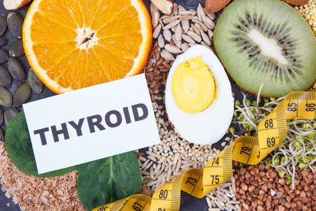 Nutritious natural ingredients for healthy thyroid. Food containing vitamins and minerals. Problems with thyroid concept