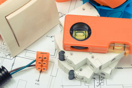 Components and accessories for electrical installations and construction diagrams of house