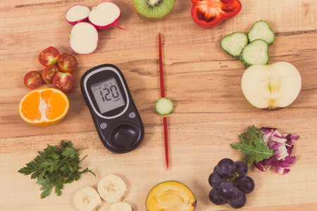 Glucose meter with result of sugar level and clock made of ripe fruits with vegetables containing vitamins and showing time for dinner