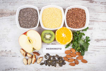 Inscription hashimoto with beneficial nutritious eating for thyroid gland. Healthy ingredients containing natural vitamins and minerals