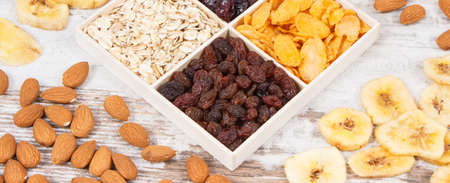 Healthy ingredients or products as source carbohydrates, dietary fiber, vitamins and minerals, concept of nutritious eating