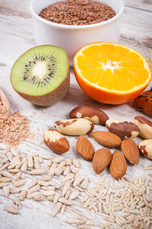 Nutritious natural products and ingredients as source vitamins for healthy thyroid Stock Photo