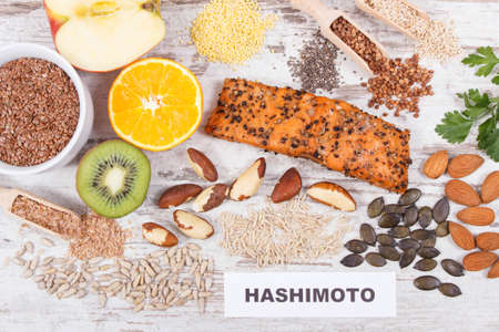 Best nutritious food for healthy thyroid. Natural eating containing vitamins and minerals Stock Photo