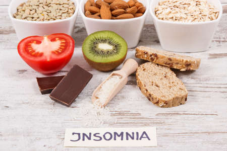 Healthy nutritious eating as source melatonin and tryptophan. Best food for insomnia problems concept