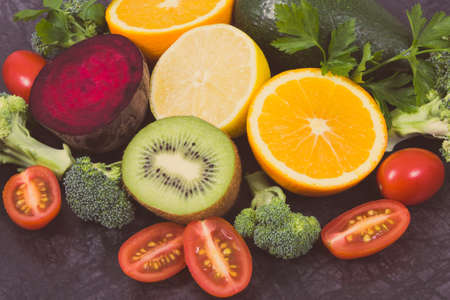 Fresh ripe fruits and vegetables containing healthy natural minerals and vitamins