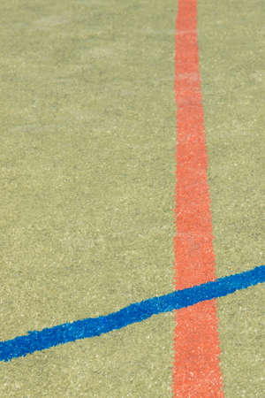 Sports markings on playfield. Basketball, football or handball lines. Sporty and healthy lifestyle on fresh air