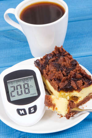 Glucometer for checking and measuring sugar level and fresh baked cheesecake with black coffee. Diabetes and dieting during diabetes