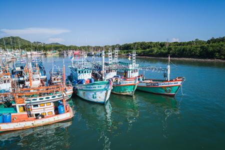 PHUKET, THAILAND - APRIL 16 : The big fishing boats at the harbor in Phuket province to transport fish from the boat to the market on April 16, 2017 in Phuket, Thailand.