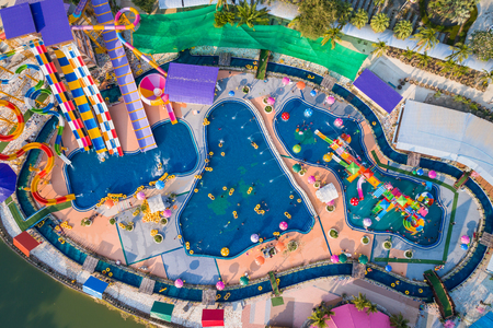 PHITSANULOK, THAILAND - APRIL 8 : The unidentified people in Splash Fun water park in Phitsanulok on April 8, 2017. Aerial view from flying drone Editorial