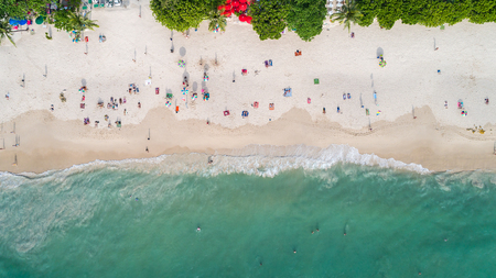 kata: Top view Patong beach in Phuket province, southern of Thailand. Patong beach is a very famous tourist destination in Phuket. Aerial view from flying drone Stock Photo