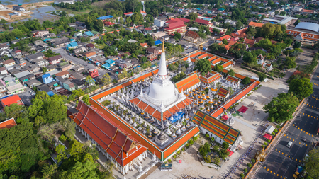 Aerial view of Wat Pra Maha Thad, in Nakhon Sri Thammarat province, Public temple at Southern of Thailand Stock Photo