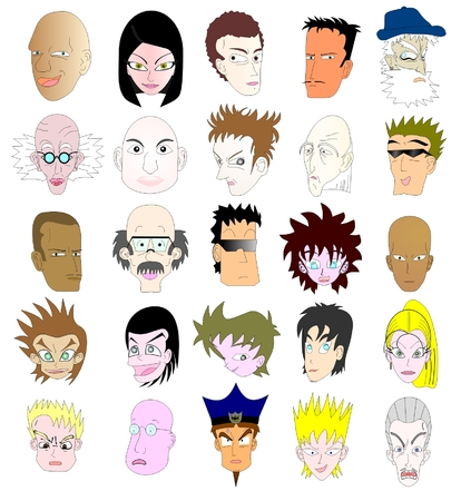 shaved head: Collection of different faces