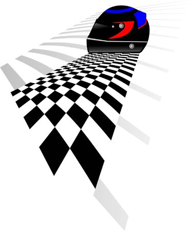 Helmet competition and checkered flag Stock Vector - 4985586