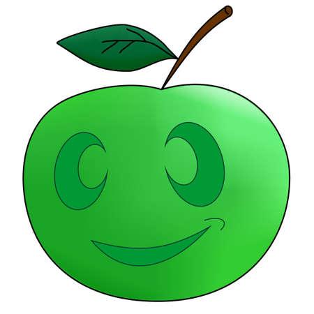 Dibujo de una manzana verde con los ojos y la boca Foto de archivo - 8141127