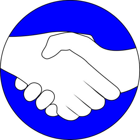 partners: Blue circular symbol with two hands clasped