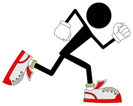 sports shoe: Running doll black Illustration