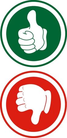 Rojo y verde señales con las manos hacia abajo y arriba