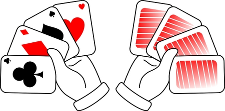 Two hands holding poker cards Stock Vector - 8818958