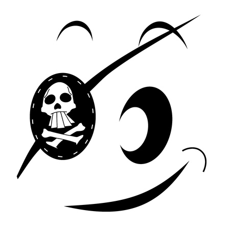 docking: Black and white drawing of a pirate face  Stock Photo