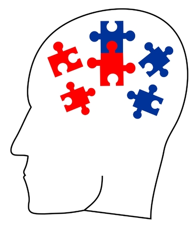 ideology: Thinking head doing a puzzle  Illustration
