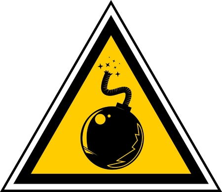 Warning sign with a bomb  Stock Vector - 8819002