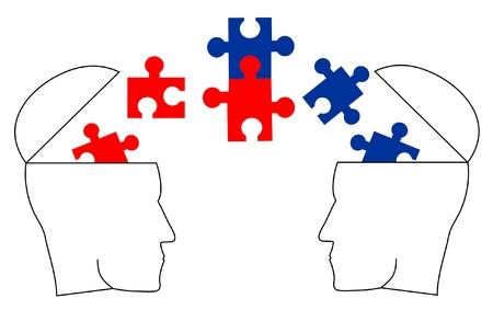 Twee verschillende ideologieën dialoog en akkoord  Vector Illustratie