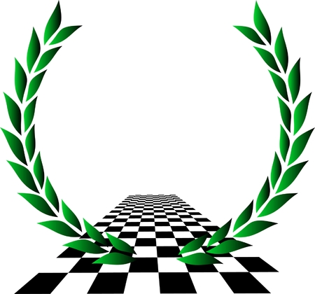 checker: Laurel wreath over checkered flag