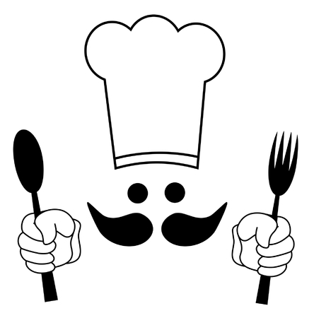 happy chef: Illustration of a cook in black and white