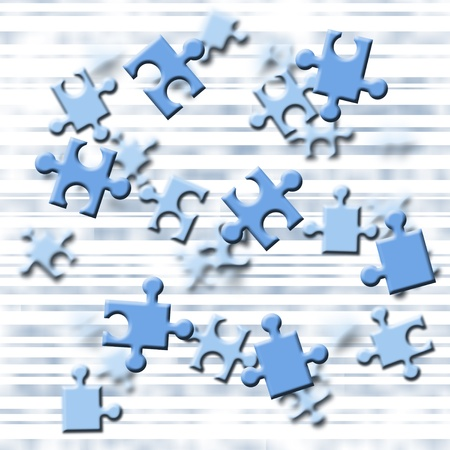strives: Illustration depicting flying blue puzzle pieces  Stock Photo