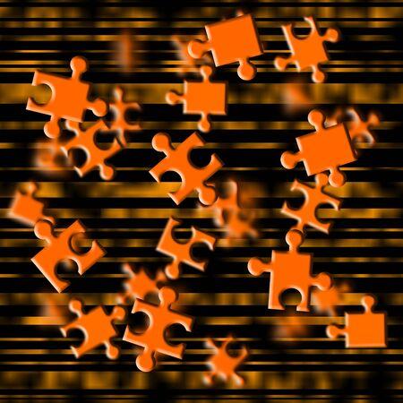strives: Illustration depicting flying orange puzzle pieces
