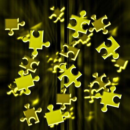 strives: Illustration depicting flying yellow puzzle pieces  Stock Photo