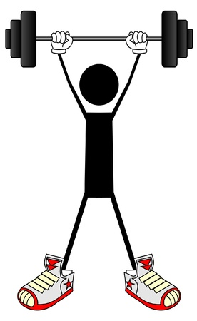 Vector black doll practicing weightlifting Stock Vector - 9093459