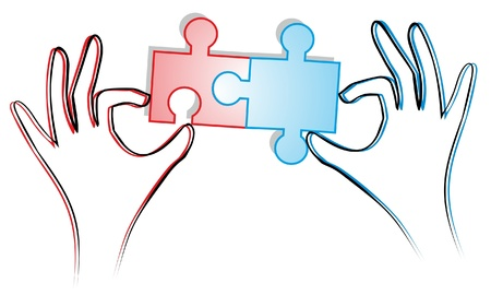 Two hands working together to form a puzzle  Stock Vector - 9093458