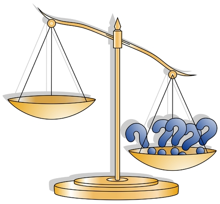 righteousness: Gold weighing scale drawing question mark